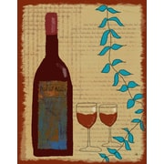 Green Leaf Art Wine 2 Graphic Art on Wrapped Canvas