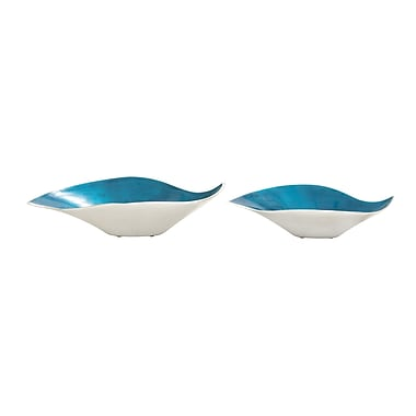 Woodland Imports Simply Lovely Enamel Decorative Bowl 2 Piece Set; Blue