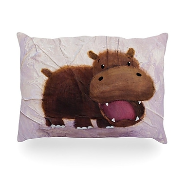 KESS InHouse The Happy Hippo Outdoor Throw Pillow; 14'' H x 20'' W x 3'' D