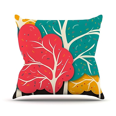 KESS InHouse Happy Forest Trees Outdoor Throw Pillow; 18'' H x 18'' W x 3'' D