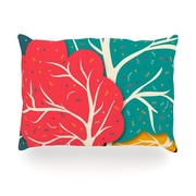 KESS InHouse Happy Forest Trees Outdoor Throw Pillow; 14'' H x 20'' W x 3'' D