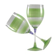 Golden Hill Studio Retro Stripe Wine Glass (Set of 2); Green