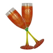 Golden Hill Studio Frosted Curl Champagne Glass (Set of 2); Orange
