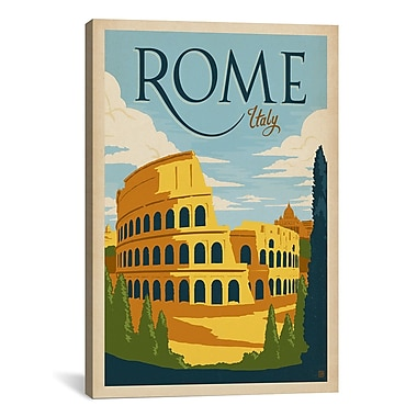iCanvas 'Rome, Italy' by Anderson Design Vintage Advertisement on Canvas; 40'' H x 26'' W x 0.75'' D