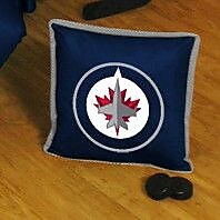 Sports Coverage NHL Winnipeg Jets Sidelines Throw Pillow