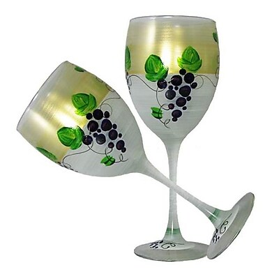 Golden Hill Studio Grapes 'n Vines Wine Glass (Set of 2)