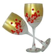 Golden Hill Studio Berries 'n Branches Wine Glass (Set of 2)