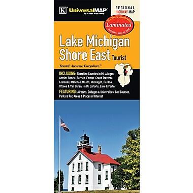 Universal Map Lake Michigan Shore East Tourist Laminated Map