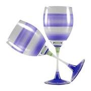 Golden Hill Studio Retro Stripe Wine Glass (Set of 2); Purple