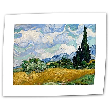 ArtWall Wheatfield w/ Cypresses by Vincent van Gogh Painting Print on Rolled Canvas; 14'' H x 18'' W