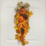 Floral Home Decor Pumpkin and Oak Leaf Door Swag