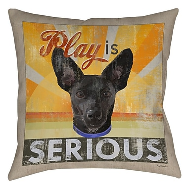 Manual Woodworkers & Weavers Dog Days - Little Black Pup Indoor/Outdoor Throw Pillow