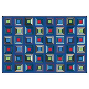 Kids Value Rugs Blue Primary Squares Seating Area Rug; 4' x 6'