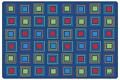 Kids Value Rugs Blue Primary Squares Seating Area Rug; 8' x 12'