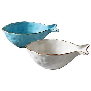 Creative Co-Op Waterside Dolomite Fish Bowl (Set of 2)
