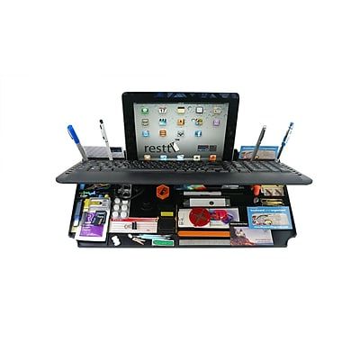 Mykeyo 6 in 1 Wired Keyboard and Desktop Organizer with Tablet Stand