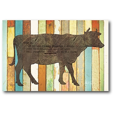 Courtside Market Farmhouse Canvas Cow Sign Graphic Art on Wrapped Canvas