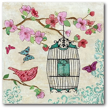 Courtside Market Birds and Butterfly II Painting Print on Wrapped Canvas