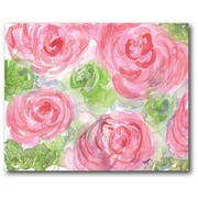 Courtside Market Watercolor Flower Painting Print on Wrapped Canvas in Pink and Green
