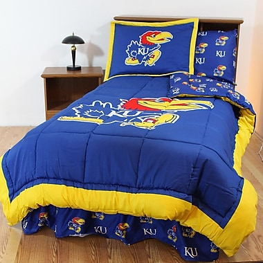 College Covers NCAA Kansas Reversible Bed in a Bag Set; Queen