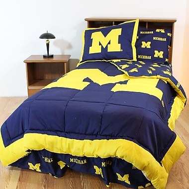 College Covers NCAA Michigan Reversible Bed in a Bag Set; Full