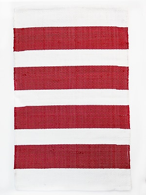 CLM Brewster Red/White Area Rug; Rectangle 2' x 3'