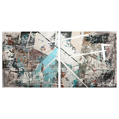Ready2hangart Oversized Abstract 2 Piece Painting Print on Canvas Set