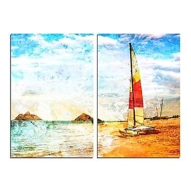 Ready2hangart Red Sail 2 Piece Photographic Print on Canvas Set