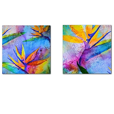 Ready2hangart Tropical Birds of Paradise 2 Piece Graphic Art on Canvas Set WYF078277573953