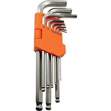 Dynamic Tools 9 Piece Metric Ball End Long Hex Key Set, 1.5mm - 10mm