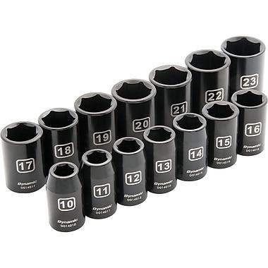 Dynamic Tools – Ensemble de 14 douilles 6 pans standards, à prise de 1/2 po, pour clés à chocs métriques 10 mm à 23 mm