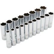 Dynamic Tools – Ensemble de 19 douilles métriques à 6 pans, prise de 1/2 po, standards et profondes, 10 à 28 mm