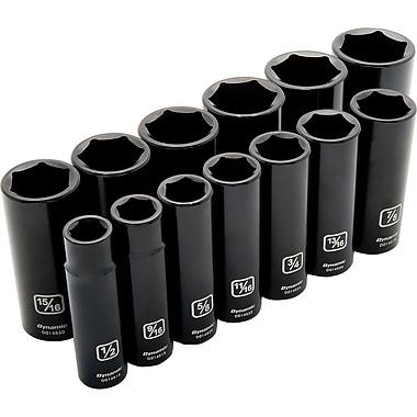 Dynamic Tools – Ensemble de 13 douilles à choc SAE à 6 pans, prise de 1/2 po, profondes, 1/2 po à 1 1/4 po