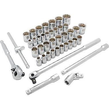 Dynamic Tools – Ensemble de 41 pièces, 12 pans standards, à prise de 1/2 po, SAE/métriques, 3/8 po à 1 15/16 po, 10 mm à 28 mm