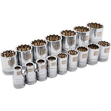 Dynamic Tools – Ensemble de 16 douilles SAE à 12 pans, prise de 1/2 po, standards, 3/8 po à 1 5/16 po