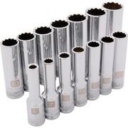 Dynamic Tools – Ensemble de 14 douilles 12 pans profondes métriques, à prise de 3/8 po, 6 mm à 19 mm