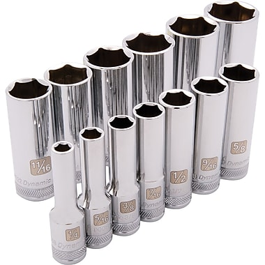 Dynamic Tools – Ensemble de 13 douilles SAE à 6 pans de 3/8 po, profonde, 1/4 po - 1 po