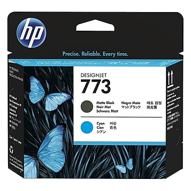 HP 773 Matte Black and Cyan Designjet Printhead Cartridge (C1Q20A)