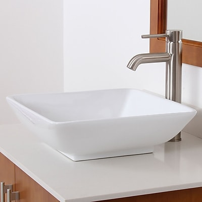 Elite Ceramic Square Vessel Bathroom Sink; Chrome