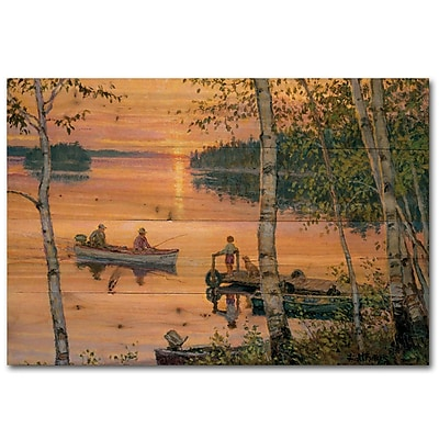 WGI GALLERY Lakeland Sunset by Lee Kromschroeder Painting Print Plaque; 16'' H x 24'' W x 1'' D