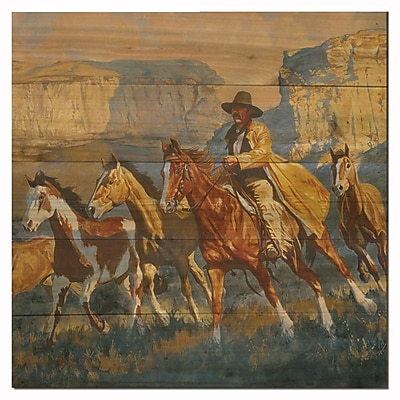 WGI GALLERY A Cowboy Day by Daryl Poulin Painting Print Plaque; 12'' H x 12'' W x 1'' D