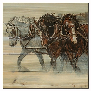 WGI GALLERY Winter Wind Horses by Chris Cummings Painting Print Plaque; 4'' H x 12'' W x 0.5'' D