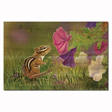 WGI GALLERY Chipmunk in the Garden by Carol Decker Painting Print Plaque; 16'' H x 24'' W x 1'' D