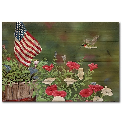 WGI GALLERY Garden Glory Hummingbird by Carol Decker Painting Print Plaque; 8'' H x 12'' W x 1'' D