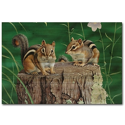 WGI GALLERY Chipmunks by Neal Anderson Graphic Art Plaque; 8'' H x 24'' W x 1'' D