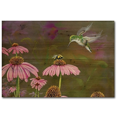 WGI GALLERY Competion Bee Hummingbird by Carol Decker Painting Print Plaque; 8'' H x 12'' W x 1'' D