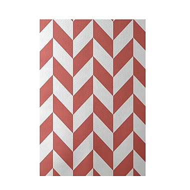 E By Design Geometric Coral Indoor/Outdoor Area Rug; Rectangle 2' x 3'