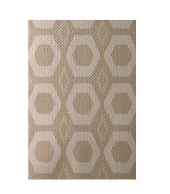 E By Design Geometric Beige Indoor/Outdoor Area Rug; Rectangle 2' x 3'