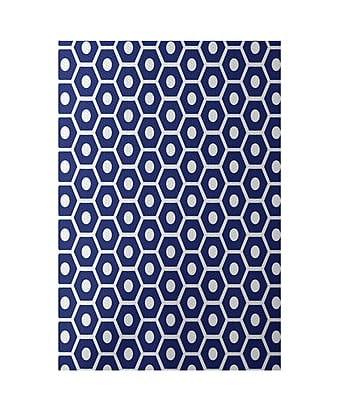 E By Design Geometric Royal Blue Indoor/Outdoor Area Rug; Rectangle 4' x 6'