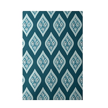 E By Design Floral Teal Indoor/Outdoor Area Rug; 2' x 3'